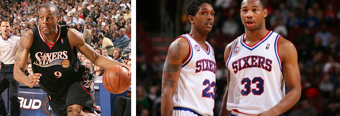 Old Sixers alternate logo and uniform (left), vintage uniform (right)