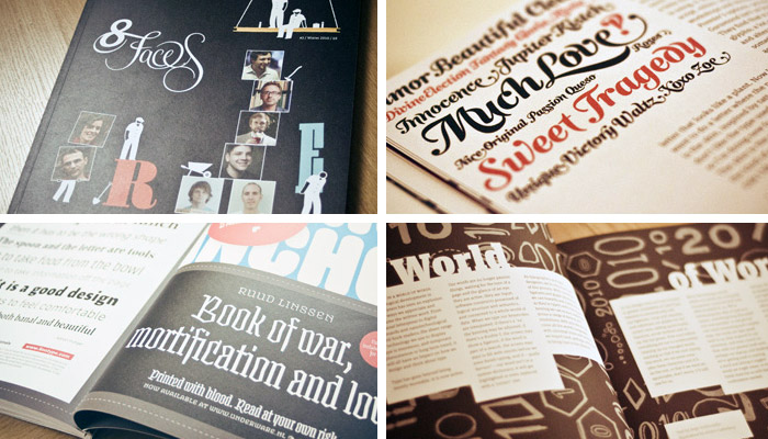 Sneak-peak proofs of 8 Faces issue #2, from The FontFeed