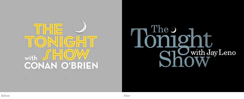 The Tonight Show logos: Conan O'Brien (left), Jay Leno (right)