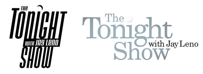 Tonight Show logo pre-Conan (left), a white version of the new Tonight Show logo