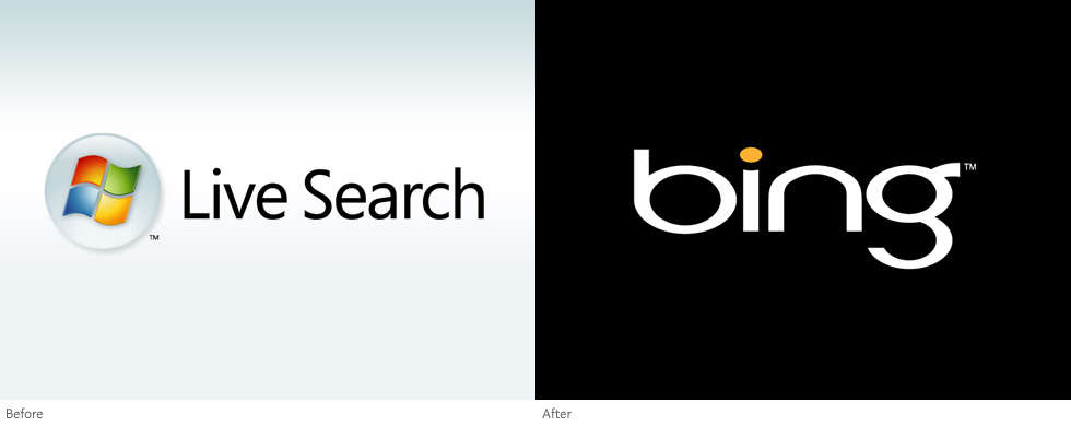 Logos: Live Search (before), Bing (after)