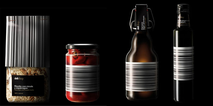Delishop's Black Label line uses barcodes as a design element