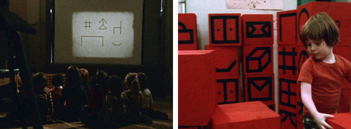 Children learning meanings from animated Blissymbols (left); A young child combining Blissymbols logically with playing blocks (right) (Image: Mr. Symbol Man, 1974)