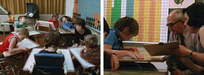 A group of cerebal palsy patients using the Bliss board in a classroom (left); Bliss witnessing his symbols in use at the Ontario Crippled Children's Centre in 1972 (right) (Image: Mr. Symbol Man, 1974)