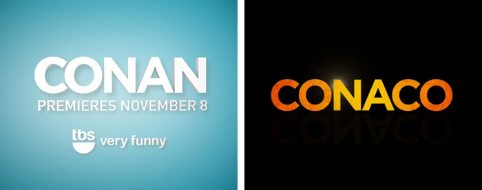 Conan logo spotted in a TBS promotional video (left) with corresponding Conaco logo (right)