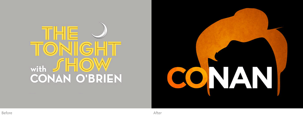 Conan logo, before and after