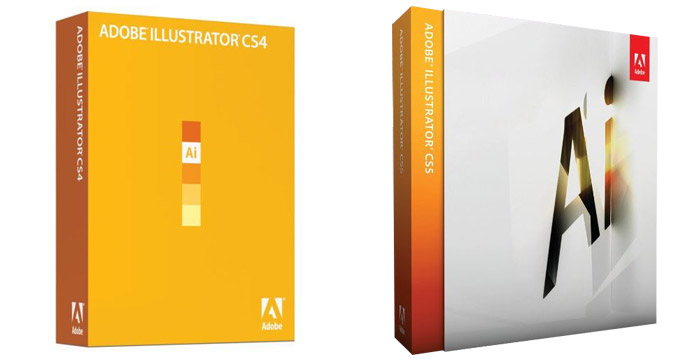 Before and after: Illustrator CS4, 2008 (left) and Illustrator CS5, 2010