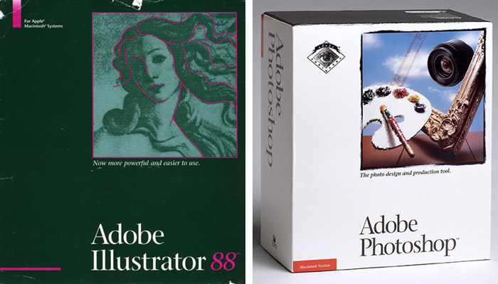 First versions of Adobe Illustrator and Adobe Photoshop