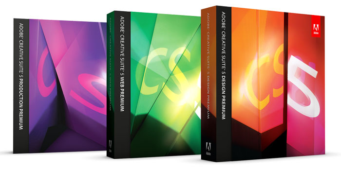 The Premium suites: CS5 Production Premium, CS5 Web Premium, and CS5 Design Premium
