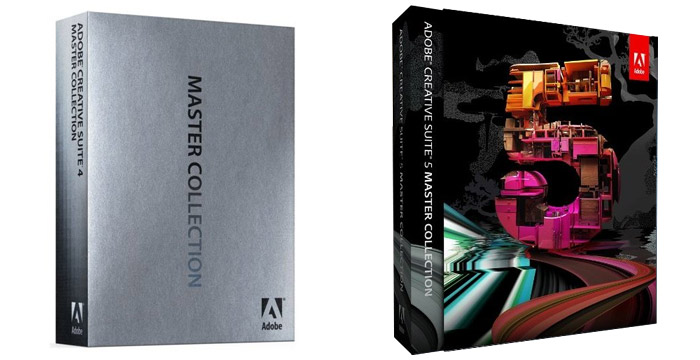 Before and after: CS4 Master Collection, 2008 (left) and CS5 Master Collection, 2010