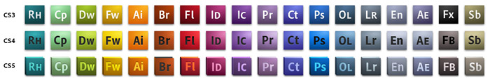 Icon evolution from CS3, CS4, and CS5