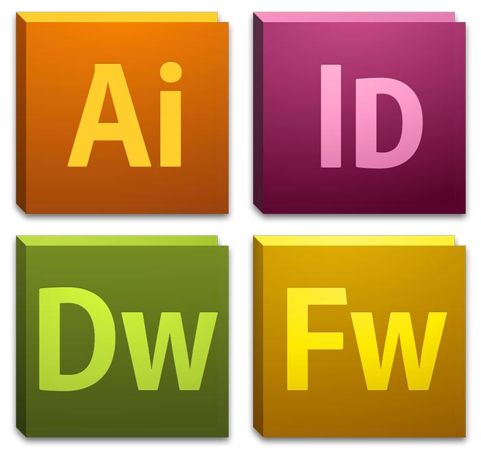 CS5 icons supersized (clockwise from top-left): Illustrator, InDesign, Fireworks, Dreamweaver