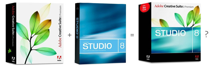 Software mashup: Adobe CS2 bundled with Macromedia Studio 8, 2006