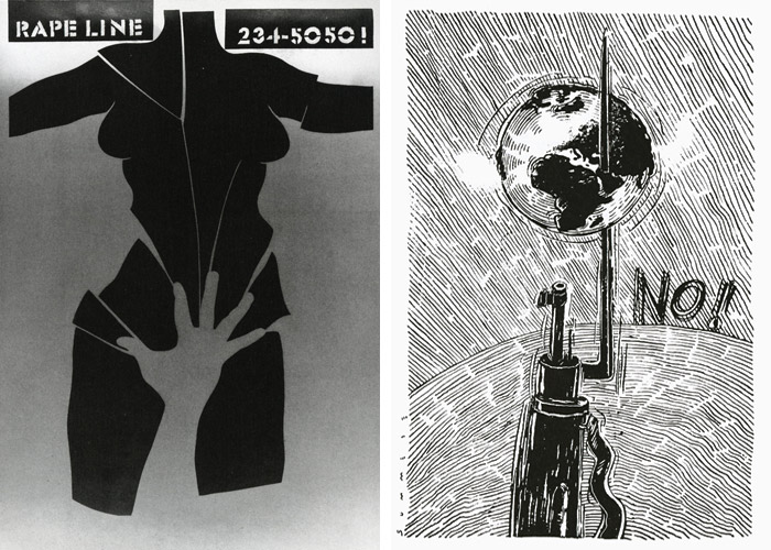 Posters by Lanny Sommese: Rape Line, 1987 (left); No!, 1991 (right)