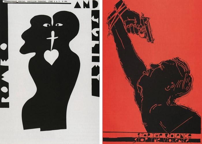 Posters by Lanny Sommese: Romeo & Juliet, 1994 (left); Stop the Violence, 1994 (right)