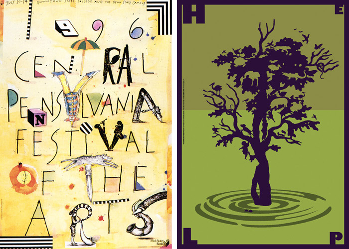 Posters by Lanny Sommese: Central Pennsylvania Festival of the Arts, 1996 (left); The Hurricane Poster Project, 2006 (right)