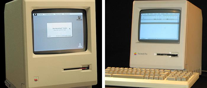Apple Macintosh 128K, photo by Wikipedia user Grm wnr (Left) and Macintosh Plus, photo by Wikipedia user Rama (Right)