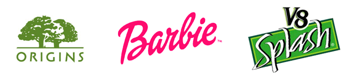Logos designed by Paul Shaw: Origins for Estée Lauder (1990), Barbie for Parham Santana (1998), V8 Splash for Campbell Soup (1995)