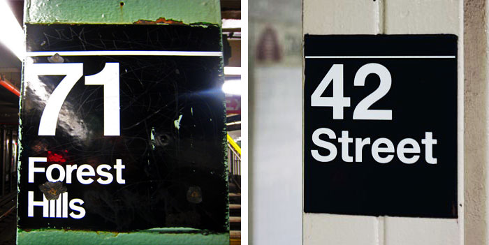 Subway signage: 71 Forest Hills set in Standard Medium (Photo: akuban, Flickr), 42 Street set in Helvetica (Photo: toohotty, Flickr)