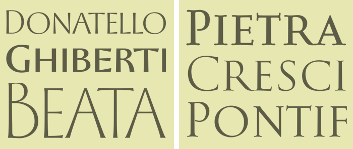 Historically-influenced typefaces: the Florentine Set (left), the Baroque Set (right)