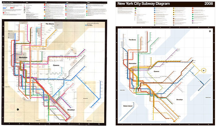 Vignelli's original 1972 map (left) and updated version for Men's Vogue (2008)