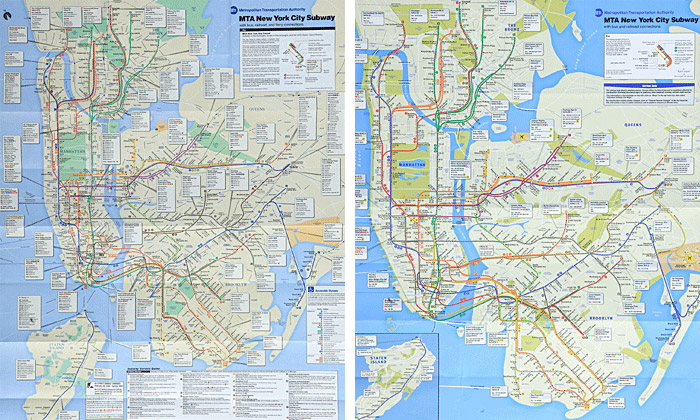 The map's first major redesign in over a decade: 1998 (left) and 2010 (right)