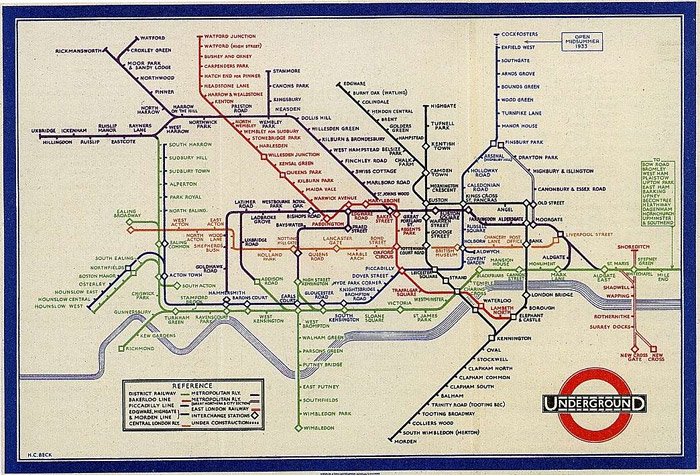 Vignelli drew inspiration from Harry Beck's 1933 London Underground map