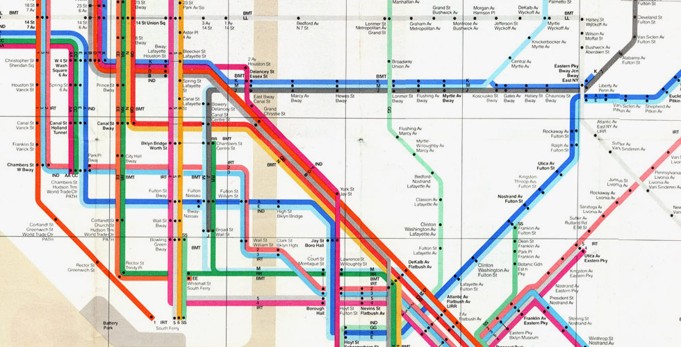massimo vignellis 1972 nyc subway map uses geographic distortions to accommodate subway lines