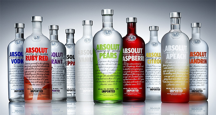 Absolut Flavors: the family of Absolut vodkas.