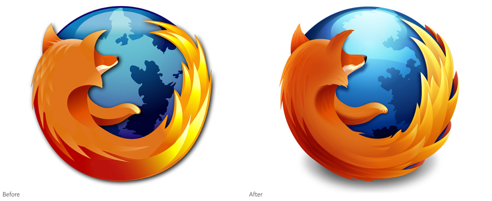 Firefox logo (2004) compared to Firefox logo (2009)