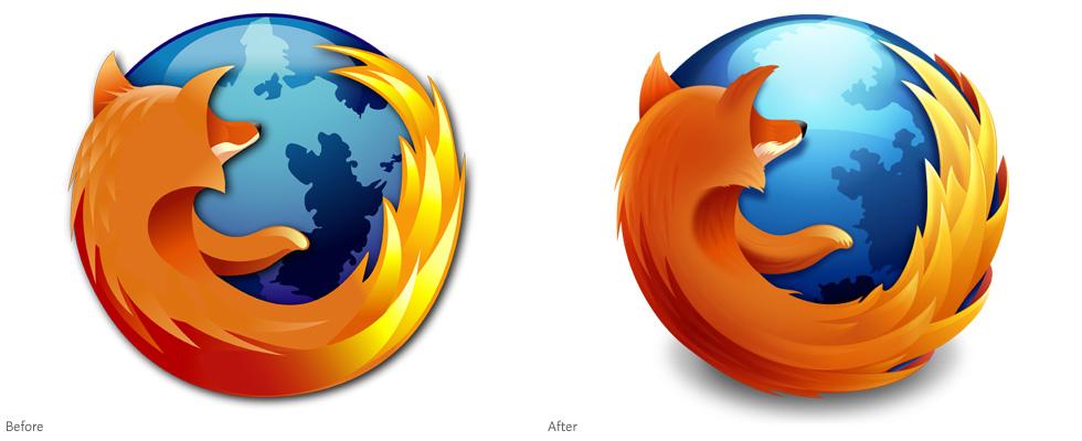 Firefox logo (2004) compared to Firefox logo (2009)