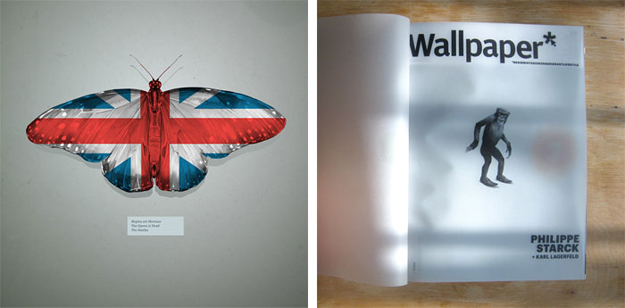 'The Queen is Dead' artwork for Beck's Music Inspired campaign (left); Wallpaper magazine cover, October 2009 (right)