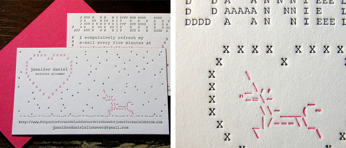 Letterpressed ASCII art, Jennifer Daniel's business cards (Photo: crankypressman, Flickr)