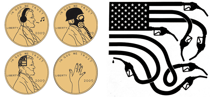 Buttons for Busy Beaver's Currency Series (left); 'These colors don't run, they drive' editorial illustration for The New York Times (right)