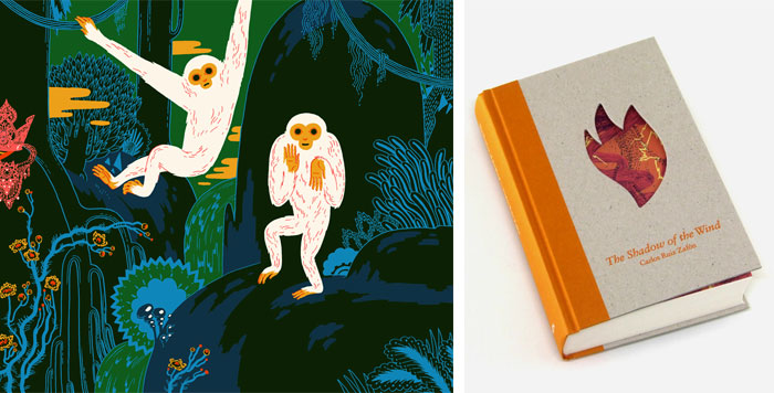 'Welcome' illustration for Nobrow Press (left); Book jacket pattern for The Shadow of the Wind (right)