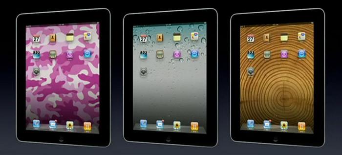 Pink camouflage? The iPad ships with a selection of background images