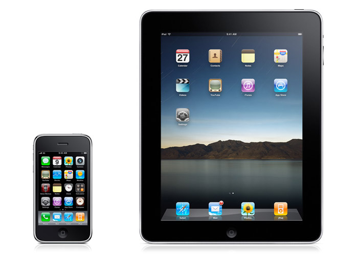 iPadding: Apple's iPhone (2007) and iPad (2010) home screens