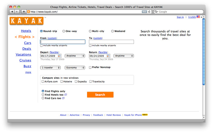Kayak.com, after