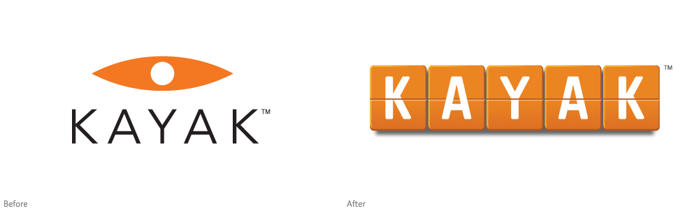 Kayak logo, before and after