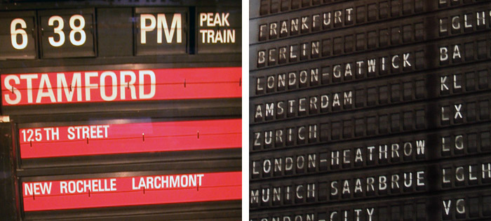 Split-flap displays, Photo (L) by trainman74 on Flickr, (R) by msmail on Flickr