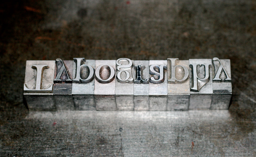 'Typography' in 60pt Fry's Baskerville ready for printing on a Stanhope press (Photo: fizzkitten, Flickr)