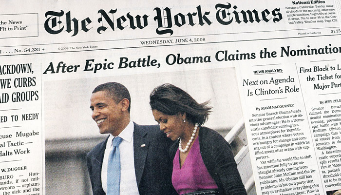 Cheltenham on The New York Times' front page, June 4, 2008 (Photo: scriptingnews, Flickr)