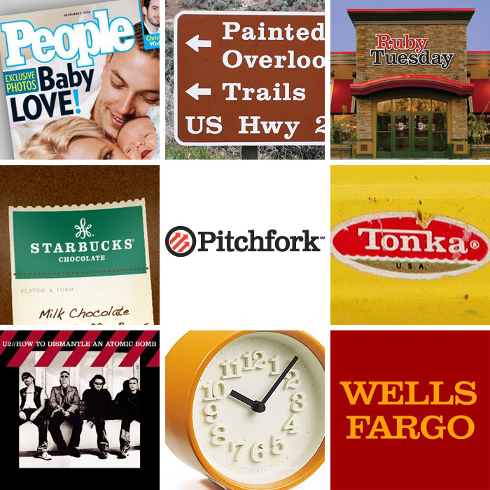 Clarendon in use: People magazine logo, US National Parks signage, Ruby Tuesday logo, Starbucks Chocolate logo, Pitchfork logo, Tonka logo, U2 album cover, Riki Watanabe clock, Wells Fargo logo