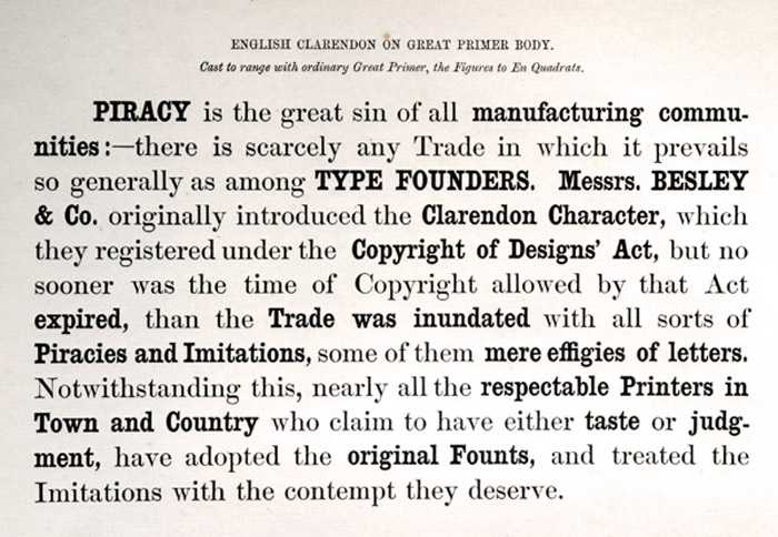"Besley writes ""Piracy is the great sin of all manufacturing communities...…"""