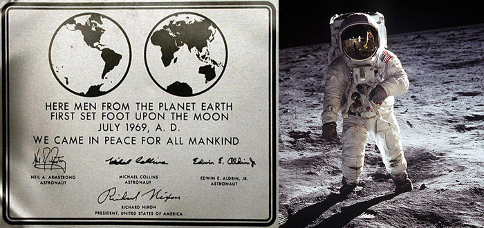 "Historical plaque on the Apollo 11 lunar module ""Eagle"" (Photo: NASA)"