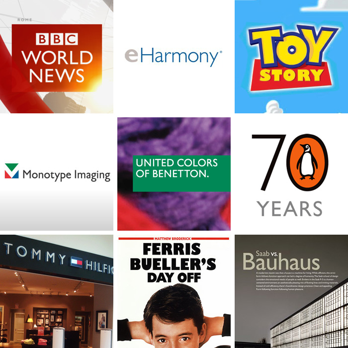 Gill Sans in use: BBC World News, eHarmony, Toy Story, Monotype Imaging Inc., United Colors of Benetton, Penguin Books' 70 year anniversary, Tommy Hilfiger, Ferris Bueller's Day Off, Saab