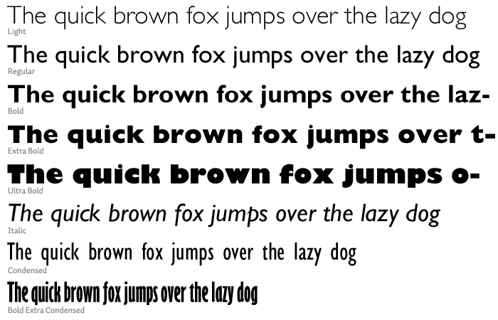 Gill Sans, common weights and styles at 36pt