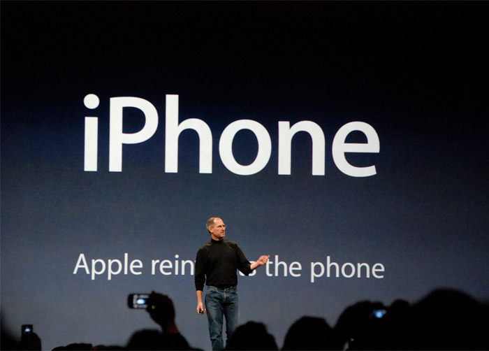 Myriad Apple is a customized version of the typeface, seen here as Steve Job unveils the iPhone.