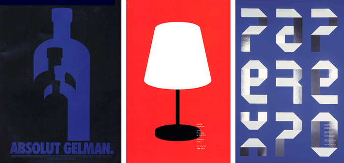 """Absolut Gelman"" for Absolut Vodka (1998); Poetry reading poster for Biblio (1995); ADC Paper Expo poster"