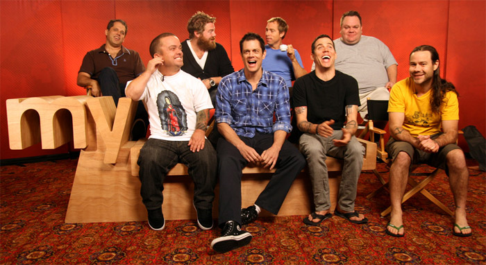 The cast of Jackass 3D sits on a new MySpace logo bench (via @macadaan)